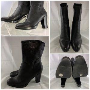 "Nine West Black Leather Boots 4"" Heel Size US 10"